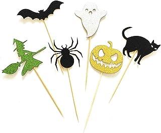 TOYANDONA 12pcs Halloween Cupcake Topper Cake Food Dessert Picks Insert Card Decoration Toppers Party Supplies