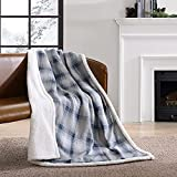 Eddie Bauer Home | Brushed Collection | Giftable Sherpa Fleece Reversible Throw, Ultra Soft & Cozy, Perfect for Bed or Couch, Nordic Midnight