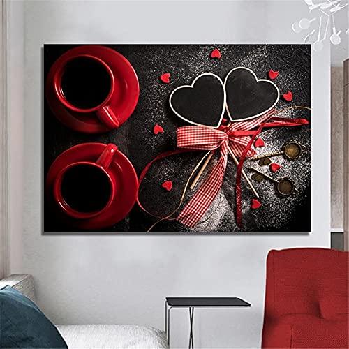 Pintura Diamante 5D Bricolaje Por Número Completo Kit Taza de café roja en forma de corazón Rhinestone Cristal Punto de Cruz Diamond Painting Artes Craft Adulto Niños Regalo Square Drill 60x90cm