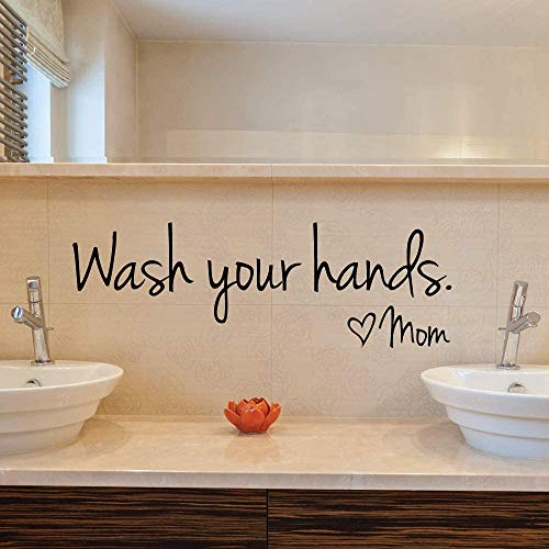 Wash Your Hands Listen Mom#039words Removable Vinyl Decal Art Mural Home Decor Wall Stickers Lettering Sticker