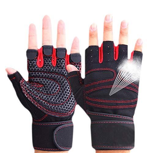 Selotrot Sport Fitnessstudio Handschuhe Halbfinger Atmungsaktiv Gewichtheben Fitness Handschuhe Hantel Neu Damen Fitness-Handschuhe - Rot, XL