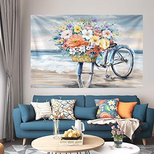 Bicicleta Flores Cesta Tapiz Colgante de pared Ropa de cama Tapiz Pintura...