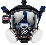 PT-100 Full Face Gas Mask & Organic Vapor Respirator- ASTM Tested - Eye Protection