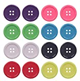 YAKA 80Pcs 1inch(25mm) Sewing Resin Buttons Round Shape 4 Holes Craft Buttons for Sewing Scrapbooking and DIY Craft Multicolored