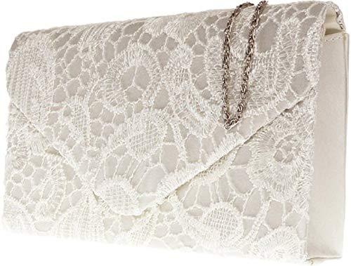 Damen Satin Spitze Handtasche Schulter Ketten elegante Hochzeits Abend-Frauen - Elfenbein