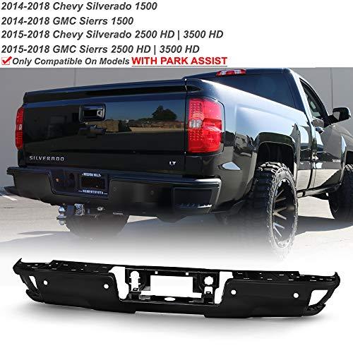 ACANII - For 2014-2018 Chevy Silverado/GMC Sierra 1500 2500 3500 Black Rear Step Bumper Face Bar w/Sensor & Corner Hold