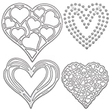 GORGECRAFT 4 pieza de Troqueles de Corte con Marco de Corazón, Troqueles de Acero Al Carbono para Hacer Tarjetas, Plantilla de Metal En Relieve,para Manualidades,Álbumes de Recortes,Color Platino Mate