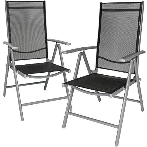 TecTake Aluminium Klappstuhl Gartenstuhl Set verstellbar mit Armlehnen - Diverse Farben und Mengen (Silber | 2er Set | Nr. 401631)