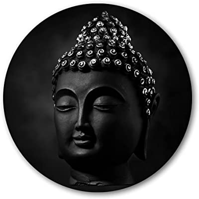 999Store buddha Face Black Color Round Shape Wall Painting (MDF_11X11 Inch_Multi) RPainting004
