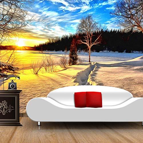 Muurschildering Niet-geweven zonsopgang, Sneeuwscène, Bos Fotobehang - Moderne Decoratieve voor Kids Slaapkamer Keuken Woonkamer Badkamer 400 x 280 cm