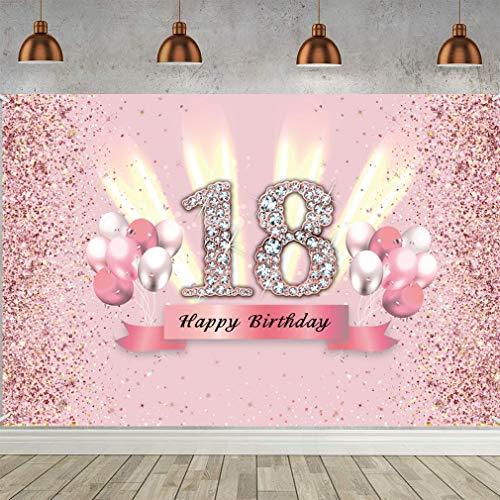 18. Geburtstag Deko 18 Geburtstag Banner Rosegold Party Dekoration Mädchen, Stoff Schild Poster 18. Jahrestag Party Geburtstagsdeko Glitzern Rosa
