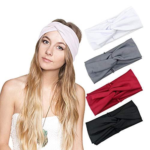 4 Stück (Schwarz+Grau+Weiß+Rot) Damen Stirnband Headwrap Kopfband Haarband Elastisch Weich Verdreht Stirnband Kopfbedeckung für Alltag Yoga Sport 23x8 cm