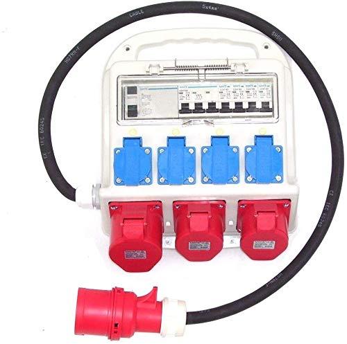 Baustromverteiler 55473 Stromverteiler mit FI-Schutzschalter 4x230 / CEE 1x32 / CEE 2 x16 Wandverteiler mit Sicherungen Schuko Steckdosen AWZ