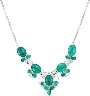 Natural Lapis Labradorite Moonstone Simulated Peridot Necklace Multi Shape Gemstone 925 Silver Overlay Handmade Necklace J...