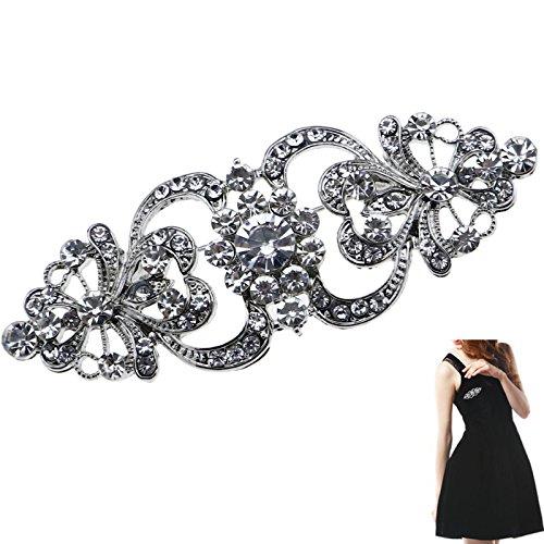 Broche de cristal para mujer, diseño de flores de boda