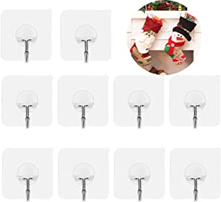 Wall Hangers Without Nails Heavy Duty Adheisve Hooks 15lb(Max) Transparent Seamless Adheisve Hook Reusable 180 Degree Rotating Waterproof and Oilproof,Bathroom Kitchen Hooks-10 Pack