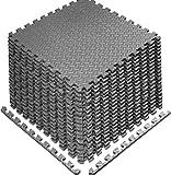Schutzmatten 60 x 60cm Schutzmatte Trainingsmatte Puzzlematte Unterlegmatten Poolmatte Fitnessmatten für Bodenschut für Bodenschutz, Büro, Fitnessraum, Bordures (Grau -16 Stück)