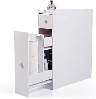 BWM.Co Bathroom Storage Cupboard Cabinet Storage Drawer White Wooden Standing Toilet Rack Organizer