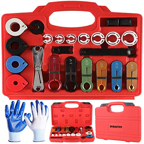 Master Disconnect Set 22Pcs With Glove, Master Quick Disconnect Tool for Automotive AC Fuel Line Transmission Oil Cooler Line Disconnects,Scissor Type Remover,Compatible With Most Ford Chevy GM Models