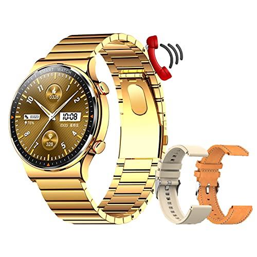Smartwatch Reloj Inteligente Mujer Hombre Impermeable IP68 con Pulsómetro, Pulsera De Actividad Inteligente con Monitor De Sueño con 2 Bandas De Correa para Android iOS,Oro