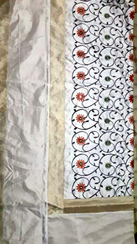 Marusthali Sábana India Banarasi Colcha Diseñador Bordado Seda Brocade Trabajo - Seda Pura con Fundas de cojín (Blanco)