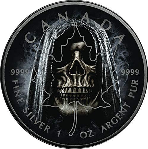 Power Coin Smoke Grim Reaper Muerte Maple Leaf 1 Oz Moneda Plata 5$ Canada 2018