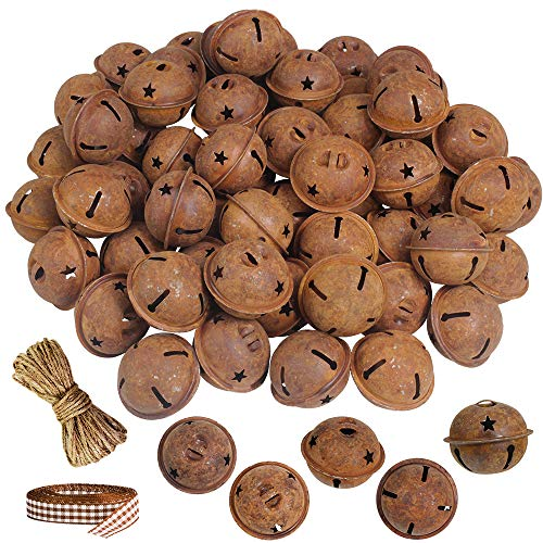 Winlyn 60 Pcs Rusty Jingle Bells with Star Cutouts Bulk Christmas Sleigh Bells Rustic Metal Craft Bells Star Bells 1.6' with Jute Rope Ribbon for Christmas Tree Holiday Season Primitive Country Décor