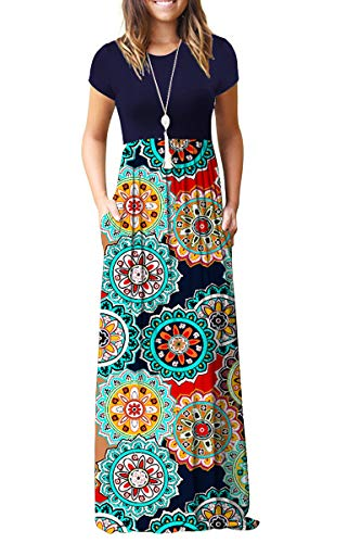 AUSELILY Women Short Sleeve Loose Plain Casual Long Maxi Dresses with Pockets (L, Navy Floral Red)