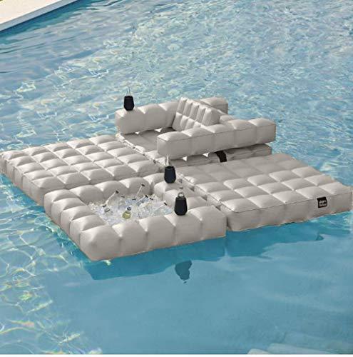 Pigro Felice - Modul'Air Aufblasbare Schwimminsel - Widerstandsfähige Materialien - Lange Lebensdauer - Premium - weiß matt