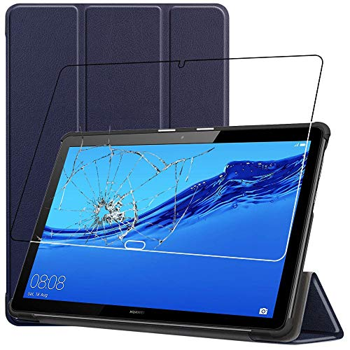 ebestStar - kompatibel mit Huawei MediaPad T5 10 Hülle Tablet 10.1 Smart Cover [Ultra Dünn] Schutzhülle Etui Ständer Hülle, Dunkelblau + Panzerglas Schutzfolie [T5 10.1: 243 x 164 x 7.8mm, 10.1'']