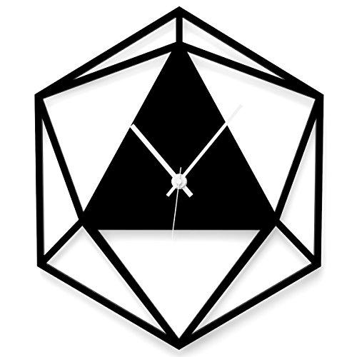 WANDKINGS Wanduhr Triangle aus Acrylglas, in 11 Farben erhältlich (Farbe: Uhr = Schwarz glänzend; Zeiger = Weiß)