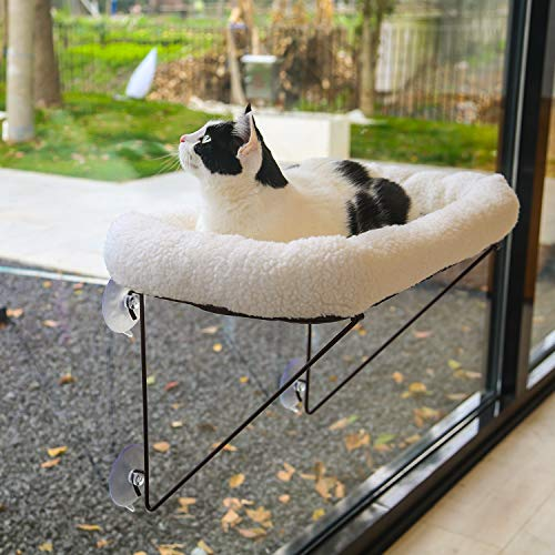 Zakkart Cat Window Perch for Indoor Cats - 100% Metal Supported from Below - Comes with Tailored Spacious Pet Bed - Cat Window Hammock for Large Cats & Kittens - for Sunbathing, Napping & Overlooking