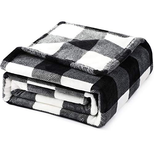 Hilarocky Buffalo Plaid Throw Blanket for Couch Fleece Flannel White Black Checker Plaid Pattern Lightweight Breathable Microfiber Ultra Cozy Warm 51x63 Inches Bed Decorative Blanket