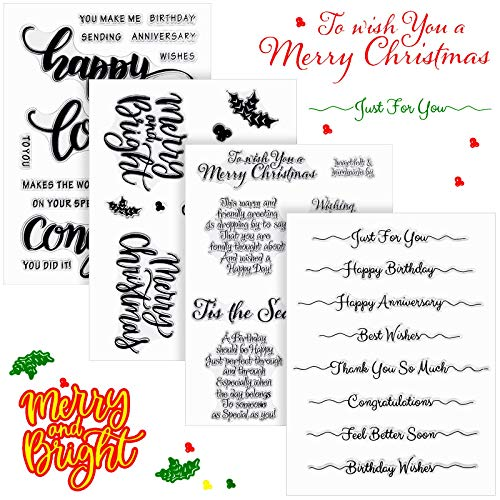 4 Sheets Christmas Sentiments Clear Stamp Christmas Word Silicone Stamp Card with Sentiment, Encouragement, Greeting Words Pattern for DIY Decorative Card Scrapbooking Embossing Photo Album Journaling