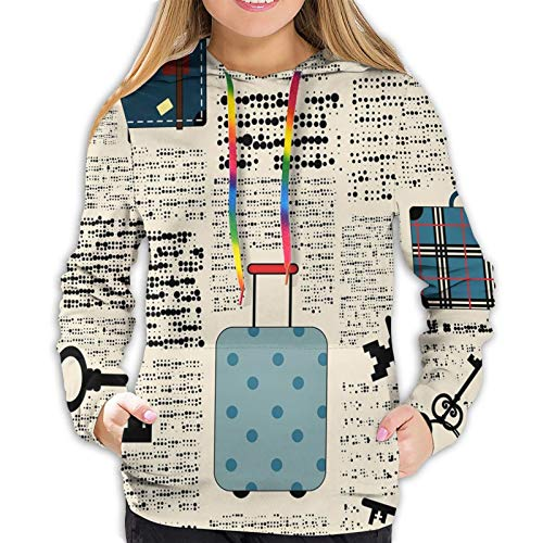 Women's Fashion Hoodies 1374D Print,Retro Style Travel Vacation Theme Vintage Suitcases Keys Dot Text,Classic Pullover Hooded Sweatshirt,X-Large