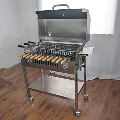 Brazil Rotisserie Rotating BBQ Grill with Lid at Home Small Charcoal Grill Barbecue Portable Stainless Steel BBQ Grill Camping Grill