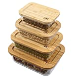 DE Plastic-Free Glass Food Storage Containers with Eco-Friendly Bamboo Wooden Lids, Set of