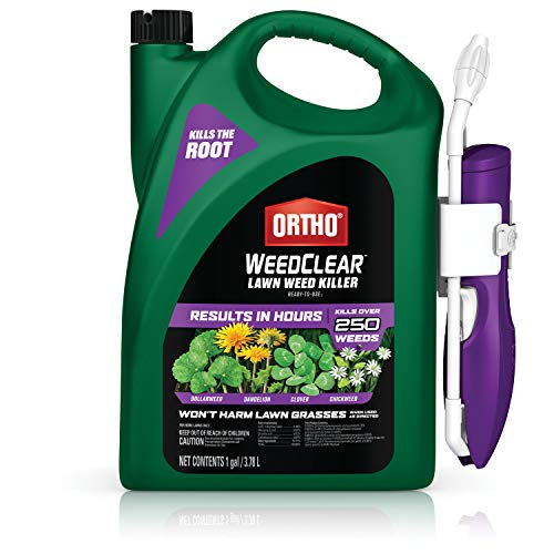 Ortho 448805 WeedClear Ready to Use1-with Comfort Wand, Broadleaf Lawns, Weed Killer Spray, Dandelion, Chickweed, Dollarweed & More, Kills to The Root, 1 gal