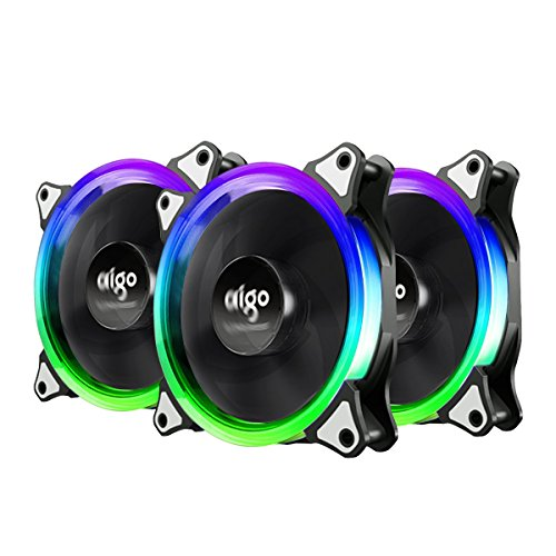 vifly Itchykoo Case Fan Aigo Aurora de 3Pack RGB LED 120mm High Airflow Adjustable Colorful Quiet Edition RGB CPU Coolers Radiator with Controlador
