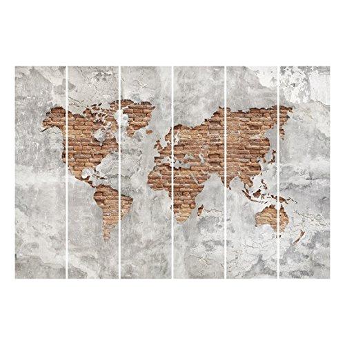 Bilderwelten Cortinas deslizables set - Shabby Concrete Brick World Map - 6 Paneles japoneses, cortina de panel deslizante panel cortina incl. sistema de montaje, Sistema de montaje: Montaje de pared, Tamaño: 250 x 360cm (6 paneles de 250 x 60cm)