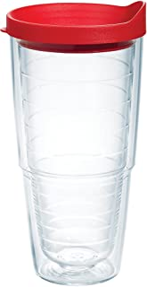 Tervis 1143847 Clear & Colorful Insulated Tumbler with Red Lid, 24 oz Tritan, Clear