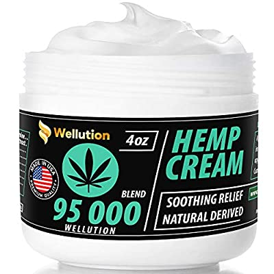 Hemp Cream 95,000 mg Blend – All-Natural Seed Oil Extract for Knee, Lower Back, Feet, Wrist and Joint Pain Relief - Extra Strength Massage Lotion with Arnica, Menthol and Organic Oils by WELLUTION