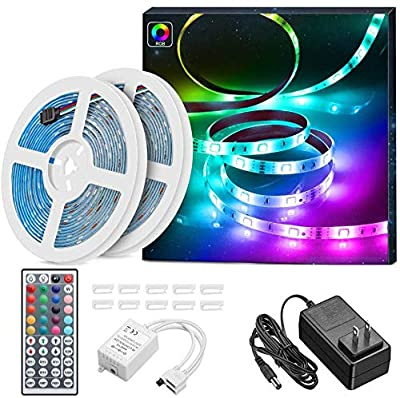 LED Light Strip, MINGER Waterproof 32.8ft RGB LED Strip Lights, 300 LEDs Rope Strips Kit with 44 Key IR Remote Control Ideal for Room, Home, Kitchen, Party