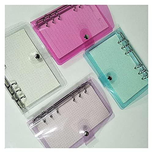 LJGFH Carpeta A5A6A7 Cubierta Brillante Cuaderno Transparente PVC Cuaderno Cuaderno Flojo Diario Bobina Anillo Planificador WaterProo Durable (Color : A7 Purple)