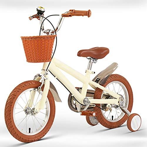 Kinderrad 14 16 18 Zoll Mit Stützrad Junge Kleines Mädchen Prinzessin Retro-Stil Kinderfahrrad Autokorb Einstellbar Gleichgewichtsübung(Size:18in,Color:Gelb)