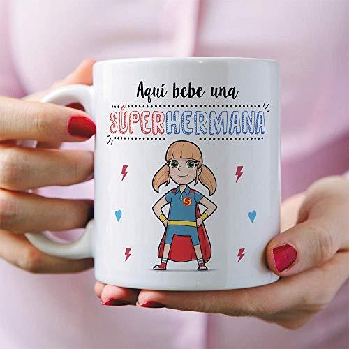 MUGFFINS Taza Hermana – Aquí Bebe una Super Hermana – Taza ...