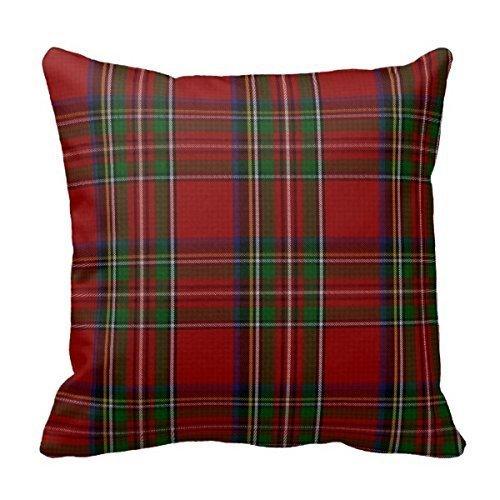 Dutars Elegante funda de almohada de tartán de Royal Stewart, personalizable, de 45,7 x 45,7 cm, cuadrada, de algodón, decorativa, funda de cojín decorativa