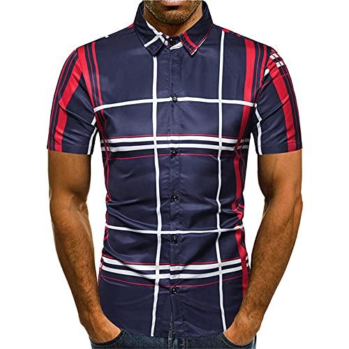 Polo Shirt Hombre Moderna Personalidad Moda Estampado Hombre Deportiva Camisa Verano Ajuste Delgado Elásticos Botón Placket Henley Camisa Urbanos Negocios Casual Golf Manga Corta H-Navy2 L
