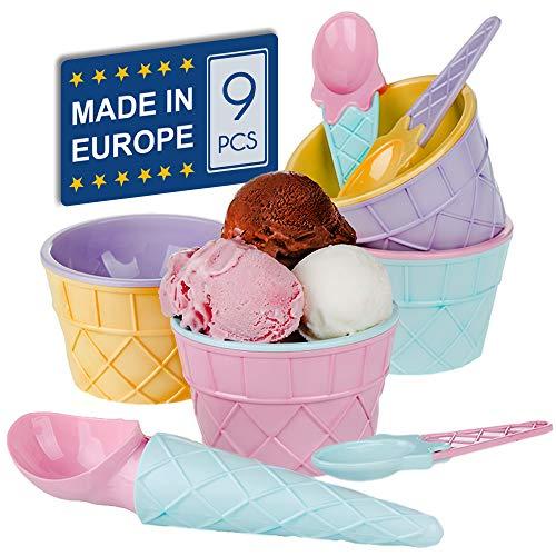 CRYSTALIA Ice Cream Dessert Sundae Bowls, Plastic Reusable Ice Cream Cups, BPA-Free, Safe for Kids, Set of 9