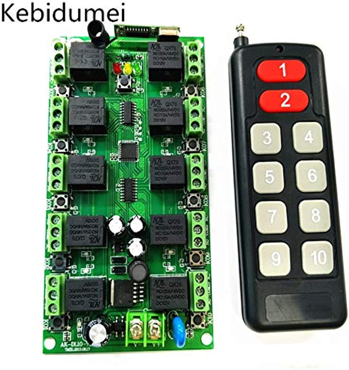 Kebidumei DC 12V 10 CH Channels 10CH RF Wireless Remote Control Switch System Transmitter + Receiver Individual Learning Code